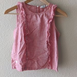 Madewell pink ruffle top